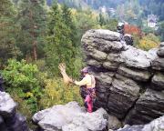 Wiede fotografiert gern Seilwürfe, hier auf dem Daxenstein