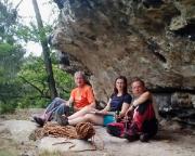 Gruppenfoto in der Villa Fernblick - naja, am Ort dieser ehemaligen Boofe.  Irgendwie ein beeindruckendes Gefühl (zumindest für mich)