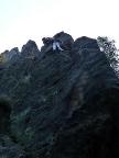 Blick von unten in die ersten Meter des Klettersteiges